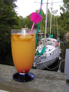 SECOND WIND's sunset rum drink